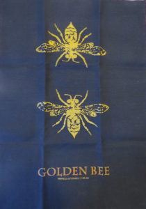 100% black linen tea towels with metallic ink prints