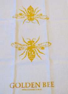 100% linen white tea towels with metallic ink prints