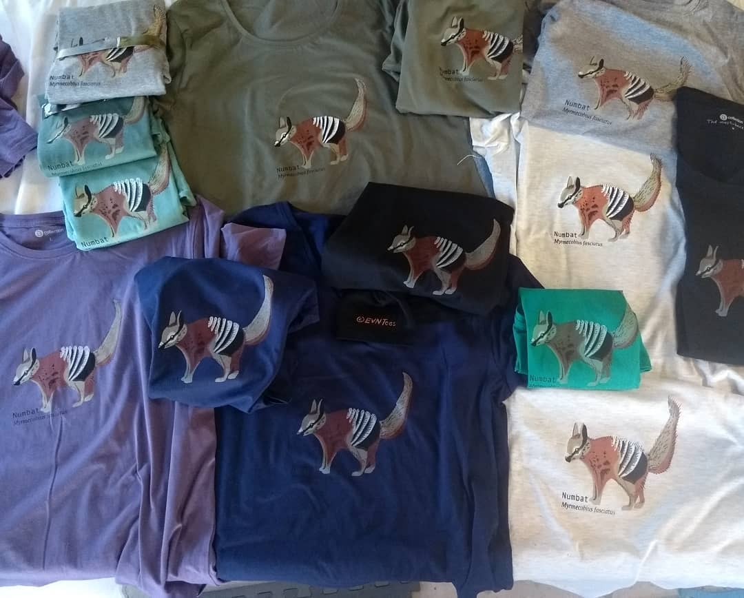 Numbat (Unisex and ladies t-shirts and tea towels). Print run October 2018. Design: C.Kahler.